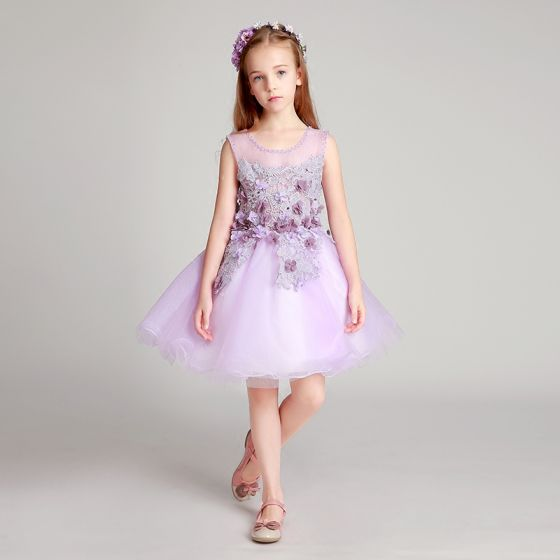 Chic / Beautiful Lilac Flower Girl Dresses 2017 Ball Gown Pearl Scoop Neck Sleeveless Lace Appliques Flower Short Ruffle Wedding Party Dresses