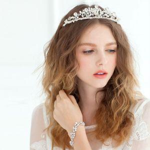 Krystal Krone Perle Tiara Kronprinsesse Bruden Flash Diamond Hånd-beaded