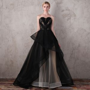 Luxury / Gorgeous Black Evening Dresses  2017 Lace Beading Appliques Backless Evening Party Prom Dresses