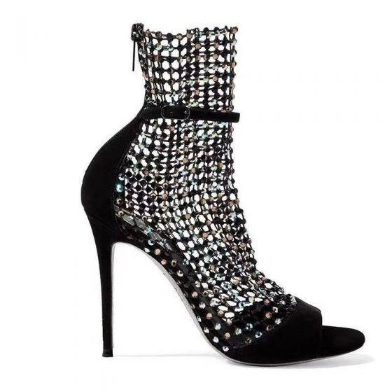 Sjarmerende Svart Fest Rhinestone Sandaler Dame 2020 Lær 10 cm Stiletthæler Peep Toe Sandaler
