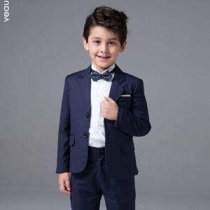 Mode Marineblau Lange Ärmel Boys Wedding Suits 2017