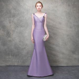 Elegant Lavender Evening Dresses  2017 Trumpet / Mermaid Bow Crystal Rhinestone Spaghetti Straps Backless Sleeveless Ankle Length Formal Dresses
