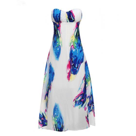 Colored Multi-Colors Chiffon Summer Maxi Dresses 2018 Empire Sweetheart Sleeveless Floor-Length / Long Ruffle Backless Women's Clothing