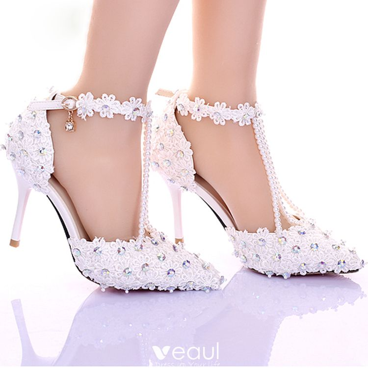 Luxury / Gorgeous 2017 9 cm White Casual PU Appliques Rhinestone High Heels Stiletto Heels Pumps Womens Shoes