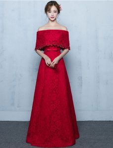 Elegant Long Evening Dress Burgundy Lace Off The Shoulder Formal Dress With Half Sleeves