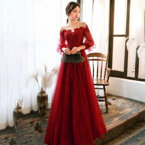 Elegant Red Evening Dresses  2020 A-Line / Princess See-through Scoop Neck Puffy 3/4 Sleeve Appliques Lace Beading Floor-Length / Long Ruffle Backless Formal Dresses