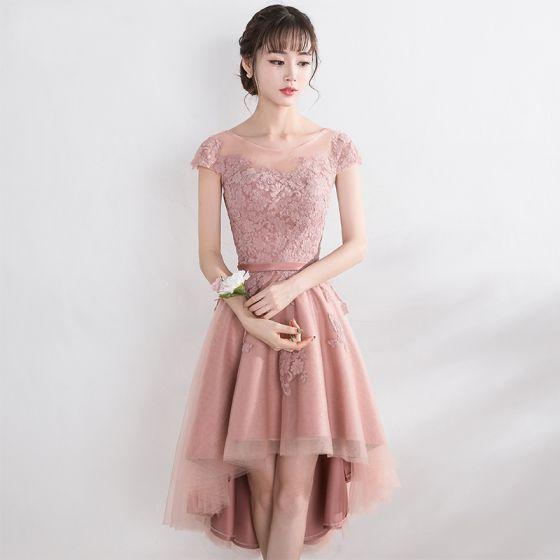 Śliczny Różowy Perłowy Sukienki Na Studniówke 2017 Princessa Koronkowe Kwiat Wiązane Wycięciem Kótkie Rękawy Bez Pleców Sukienki Wizytowe