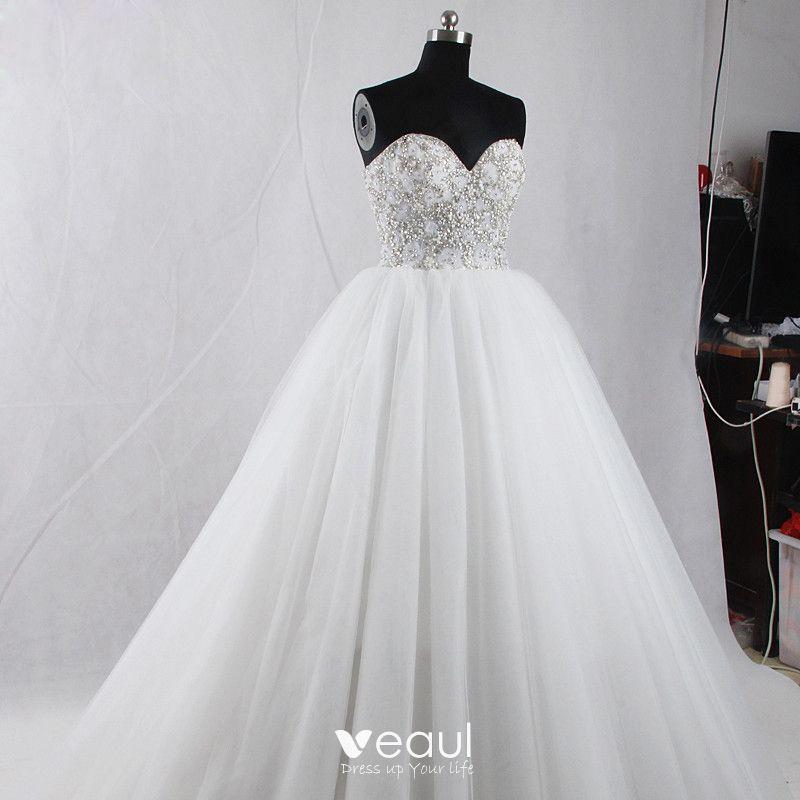Amazing Unique White Court Train Wedding 2018 Ball Gown Tulle Backless Beading Corset Rhinestone Wedding Dresses