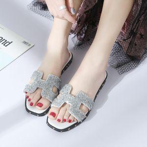 Discount Grey Summer Beach Casual Womens Shoes 2018 Sequins Open / Peep Toe Flat Slipper & Flip flops