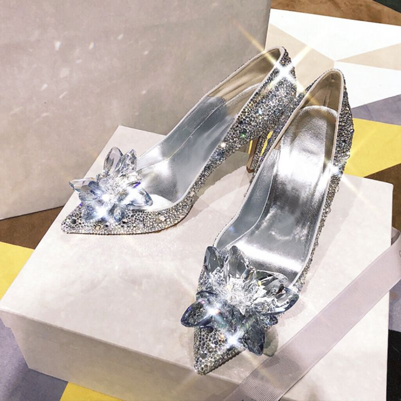 Luxury / Gorgeous Champagne Handmade  Cinderella Wedding Shoes 2019 Leather Crystal Rhinestone 9 cm Stiletto Heels Pointed Toe Wedding Pumps