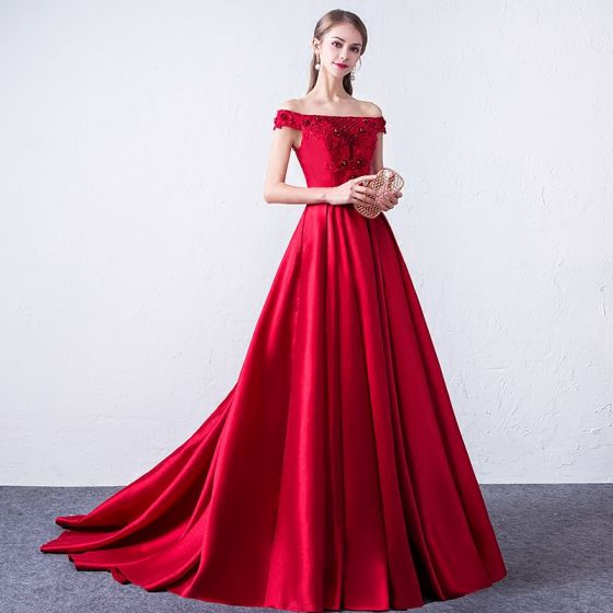 Piękne Burgund Sukienki Wieczorowe 2018 Princessa Z Koronki Aplikacje Frezowanie Cekiny Przy Ramieniu Bez Pleców Bez Rękawów Trenem Sweep Sukienki Wizytowe