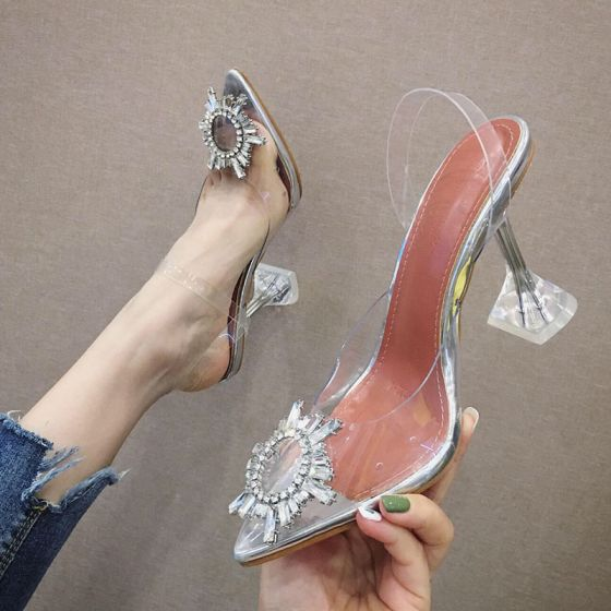Sexy Sølv Casual Damesko 2020 Rhinestone 9 cm Stiletthæler Spisse Høyhælte
