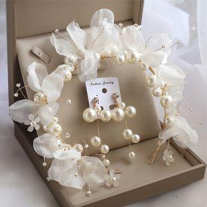 Mooie / Prachtige Goud Bruidssieraden 2020 Legering Zijden Bloem Oorbellen Haaraccessoires Bruids Haaraccessoires