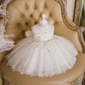 Best Ivory Birthday Flower Girl Dresses 2020 Ball Gown See-through Scoop Neck Sleeveless Appliques Flower Beading Bow Short Ruffle Wedding Party Dresses