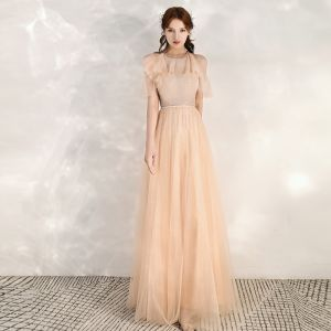 Chic / Beautiful Champagne Evening Dresses  2020 A-Line / Princess Scoop Neck Short Sleeve Beading Sash Glitter Tulle Floor-Length / Long Ruffle Backless Formal Dresses
