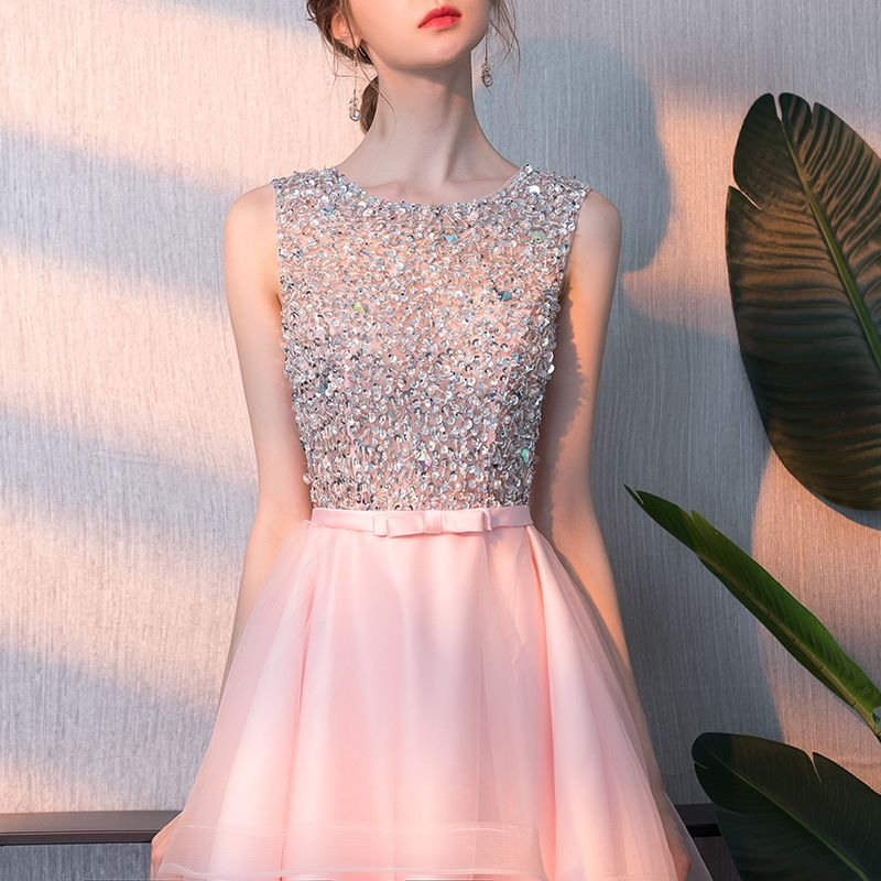 Affordable Blushing Pink Cocktail Dresses 2018 A-Line / Princess Scoop Neck Sleeveless Beading Sequins Bow Sash Asymmetrical Ruffle Backless Formal Dresses