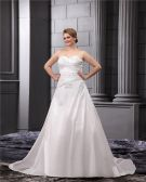 Taffeta Lace Flower Bead Sweetheart Applique Beading Princess Floor Length Wedding Dresses