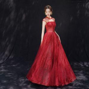 Luxury / Gorgeous Burgundy See-through Evening Dresses  2019 A-Line / Princess High Neck Sleeveless Sequins Beading Glitter Tulle Floor-Length / Long Ruffle Backless Formal Dresses