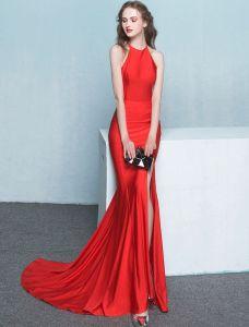 Elegantes Meerjungfrau Abendkleid Rotes Langes Formales Kleid 2017