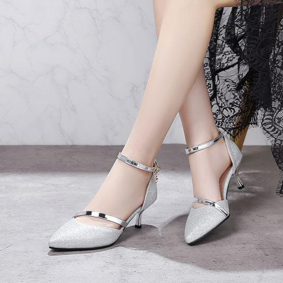 Moda Plata Tacones 2018 Cuero Rebordear Noche Zapatos De Mujer