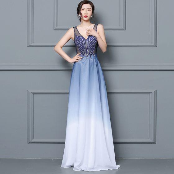 Kleid a linie lang blau