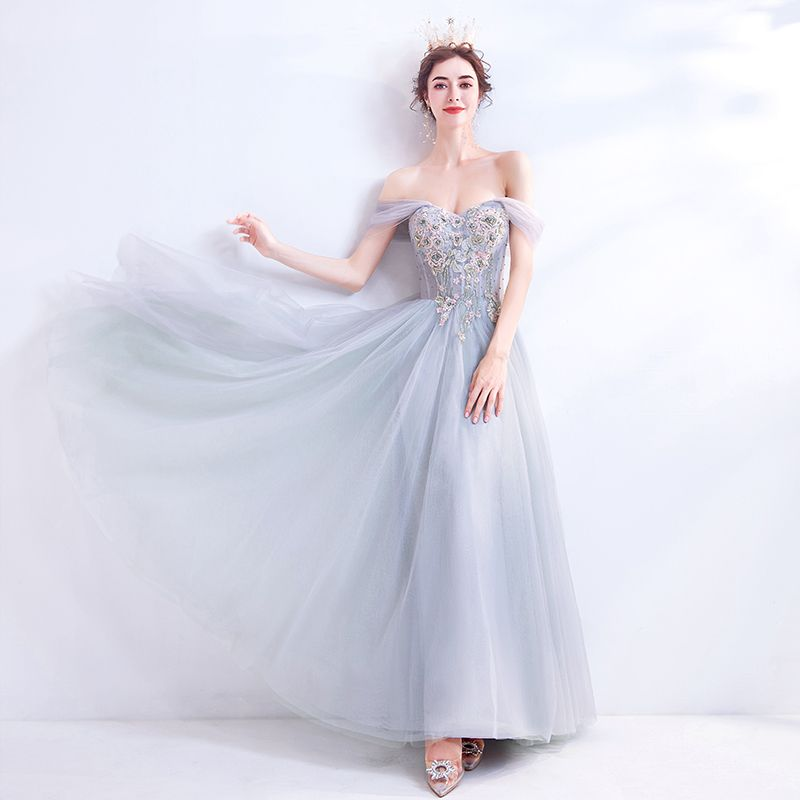 Classy Grey Prom Dresses 2020 A-Line / Princess Off-The-Shoulder Beading Crystal Lace Flower Sleeveless Backless Floor-Length / Long Formal Dresses