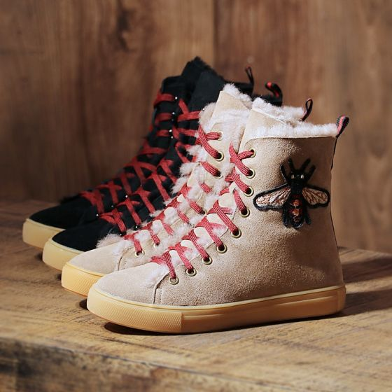 Modern / Fashion Snow Boots 2017 Leather Ankle Suede Lace-up Embroidered Casual Winter Flat Womens Boots