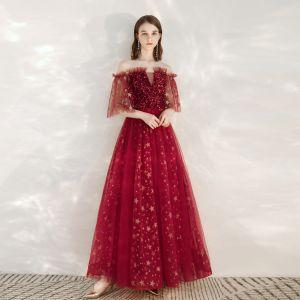 Scintillantes Bordeaux Robe De Soirée 2020 Princesse De l'épaule Glitter Étoile Paillettes 1/2 Manches Dos Nu Longue Robe De Ceremonie