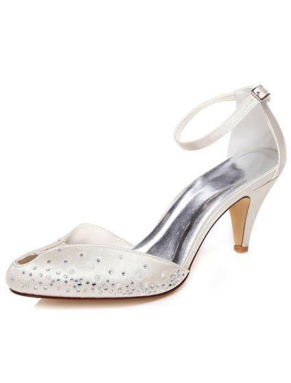 Chic De Satin Sandales De Mariage Talons Aiguilles Chaussures De Mariée  Ivoire Bride Cheville bc3e55458fe