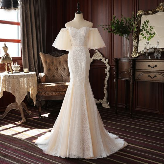 High-end Champagne Lace Wedding Dresses 2020 Trumpet / Mermaid Off-The-Shoulder Puffy 1/2 Sleeves Backless Court Train