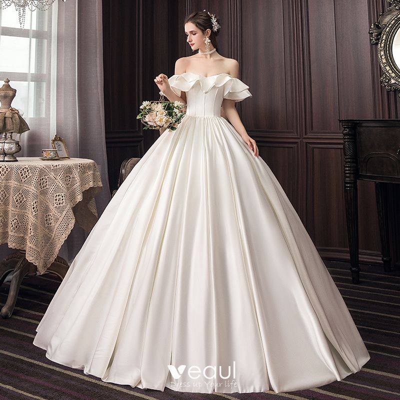 Modest Simple Ivory Wedding Dresses 2020 Ball Gown Off The