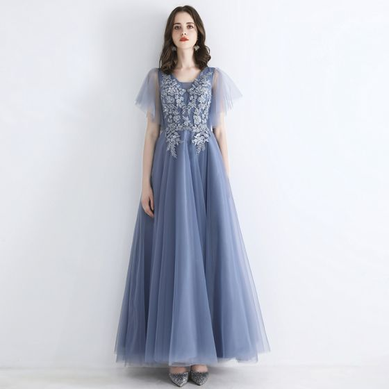 Chic / Beautiful Sky Blue Evening Dresses  2019 A-Line / Princess Square Neckline Short Sleeve Appliques Lace Beading Floor-Length / Long Ruffle Formal Dresses