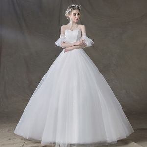 Elegante Ivory / Creme Brautkleider 2018 Ballkleid Perlenstickerei Pailletten Herz-Ausschnitt Rückenfreies Kurze Ärmel Lange Hochzeit