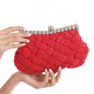 Modest / Simple Red Braid Rhinestone Metal Clutch Bags 2018