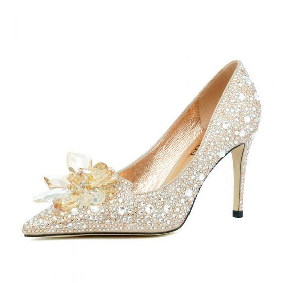 Charming Champagne Crystal Wedding Shoes 2020 Leather Rhinestone 8 cm Stiletto Heels Pointed Toe Wedding Pumps