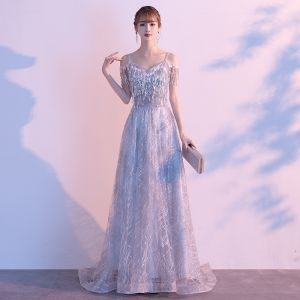 Chic / Beautiful Grey Evening Dresses  2020 A-Line / Princess Spaghetti Straps Short Sleeve Sequins Tassel Glitter Tulle Sweep Train Ruffle Backless Formal Dresses