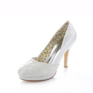 Elegante Satin Brautschuhe Weiße Stilettos Pumps 10cm Hohen Absatz Mit Spitze