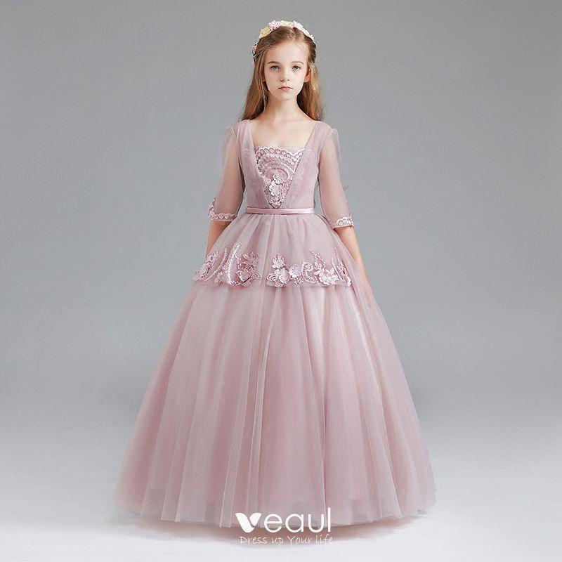 Vintage Rumieniąc Różowy Sukienki Dla Dziewczynek 2017 Suknia Balowa
