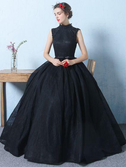 Princess Sleevesless Prom Dresses 2017 Beading High Neck Black Tulle Dress
