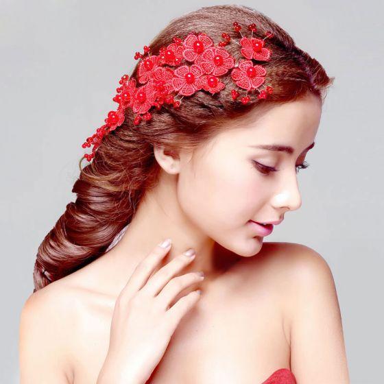 Akcesoria Ślubne Czerwone Nakrycie Glowy / Head Kwiatowe / Ślubne Wlosy / Akcesoria Cheongsam Sukienka / Biżuteria Ślubna