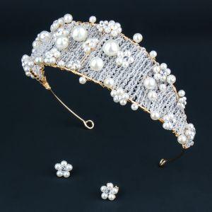 Schöne Gold Diadem Ohrringe Brautschmuck 2020 Legierung Perle Kristall Hochzeit Brautaccessoires