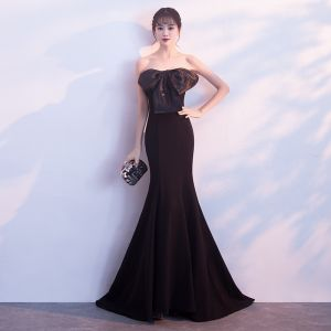 Sexy Black Evening Dresses  2018 Trumpet / Mermaid Bow Sweetheart Backless Sleeveless Sweep Train Formal Dresses