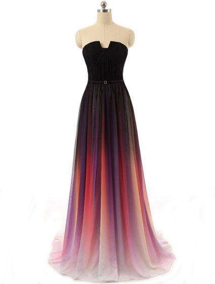 Mode Avondjurken 2016 Strapless Gradient Kleur Zijde Chiffon Backless Lange Jurk