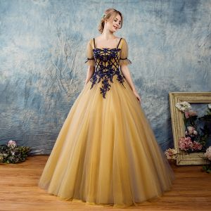 Chic / Beautiful Silver Yellow Prom Dresses 2017 Ball Gown Square Neckline Short Sleeve Appliques Lace Pearl Floor-Length / Long Ruffle Backless Formal Dresses