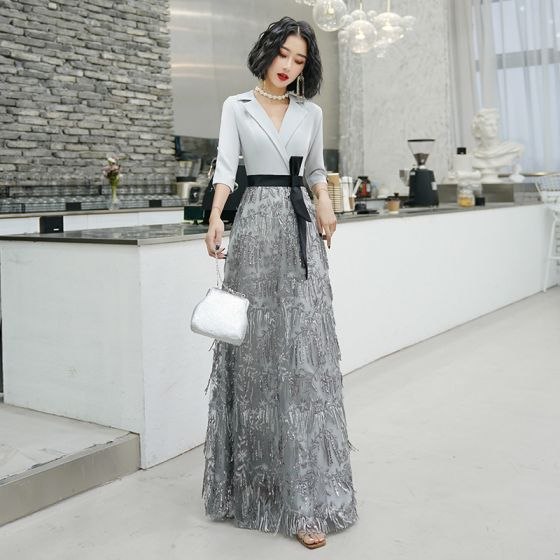 Chic / Beautiful Grey Evening Dresses  2020 A-Line / Princess V-Neck 3/4 Sleeve Sash Sequins Tassel Floor-Length / Long Ruffle Formal Dresses