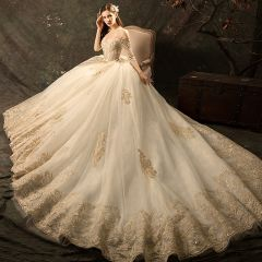 Affordable Champagne Wedding Dresses 2019 Ball Gown Off-The-Shoulder 3/4 Sleeve Backless Glitter Appliques Lace Chapel Train Ruffle