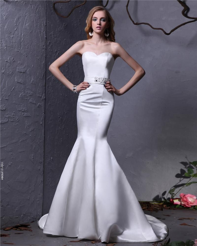 Sweetheart Beading Sash Floor Length Satin Mermaid Wedding Dress