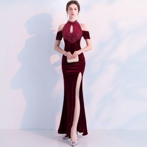 Charming Burgundy Evening Dresses  2019 Trumpet / Mermaid Suede Beading Crystal Sequins Scoop Neck Short Sleeve Backless Ankle Length Formal Dresses