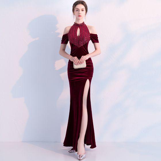 Charming Burgundy Evening Dresses  2019 Trumpet / Mermaid Suede Beading Crystal Sequins Scoop Neck Short Sleeve Backless Ankle Length Formal Dresses