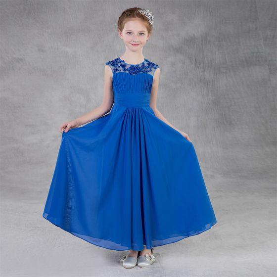 Schöne Königliches Blau Chiffon Blumenmädchenkleider 2020 A Linie Rundhalsausschnitt Rückenfreies Ärmellos Applikationen Spitze Pailletten Perlenstickerei Lange Rüschen